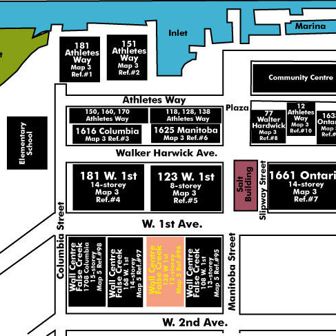 Wall Centre False Creek East 2 Tower Area Map