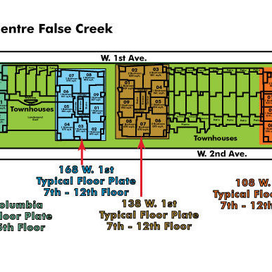 Wall Centre False Creek West 1 Tower Area Map