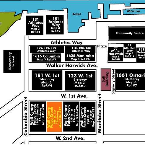 Wall Centre False Creek West 2 Tower Area Map