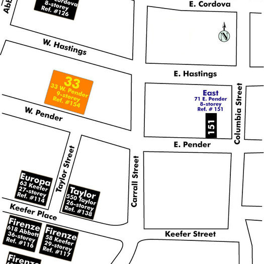 33 West Pender Area Map