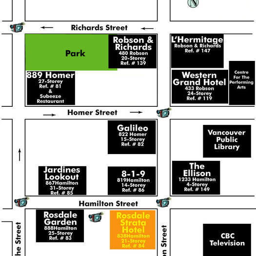 Rosedale On Robson Suite Hotel Area Map