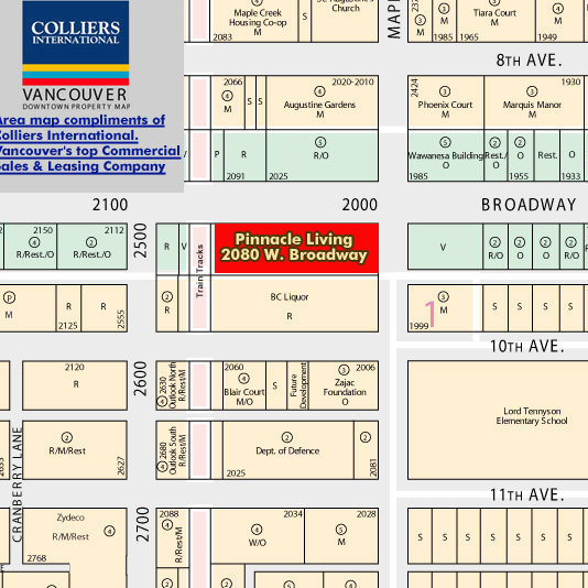 Pinnacle Living On Broadway Area Map