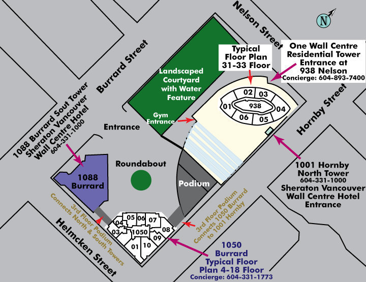 One Wall Centre Area Map
