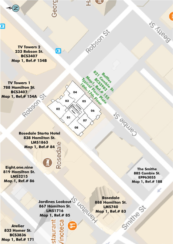 Raffles On Robson Area Map