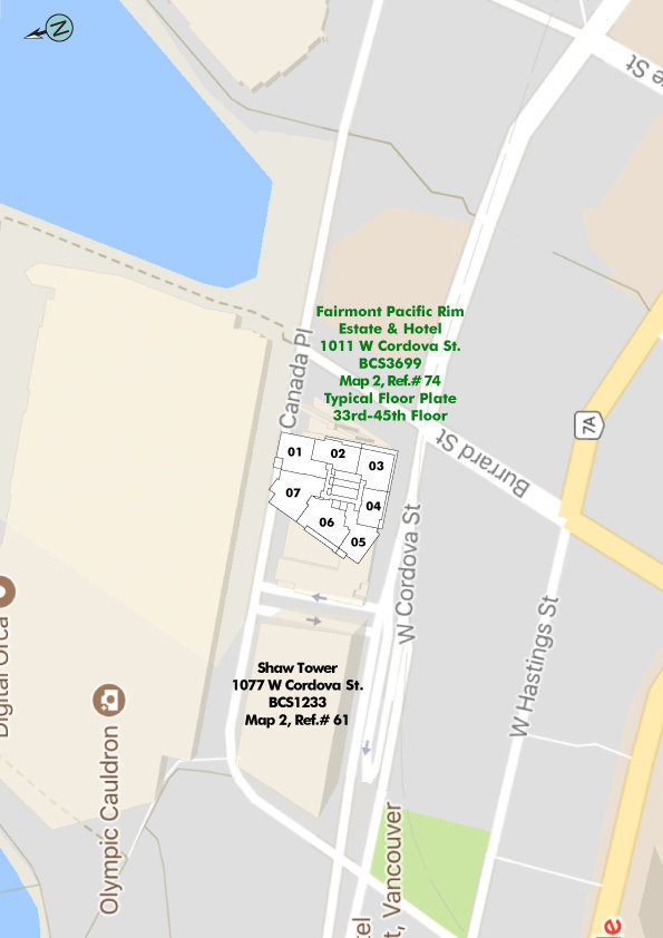 Fairmont Pacific Rim Area Map