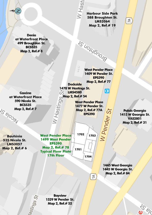 West Pender Place Area Map